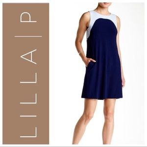 LILLA P Color Block Sleeveless Blue DRESS